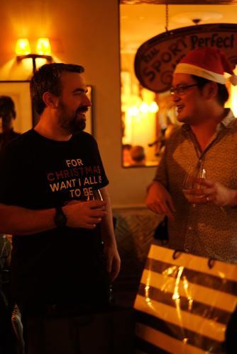 2 men celebrating christmas