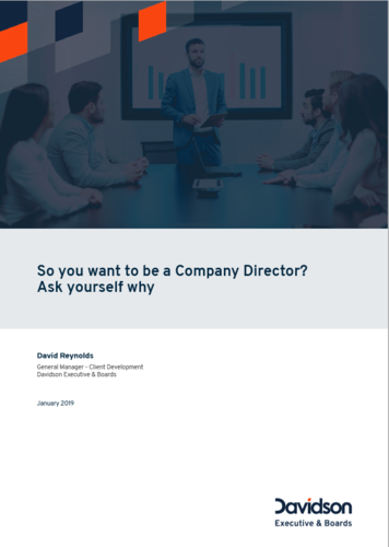 So you want to be a Company Director white paper