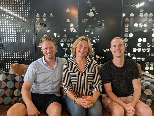 Talent Sydney recruitment specialist Catherine Wiggett with Greener founders Tom and Neil