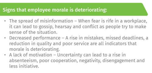 Signs that employee morale is deteriorating