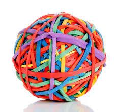 Rubber band ball multicoloured