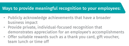 Ways to provide meaningful recognition to your employees