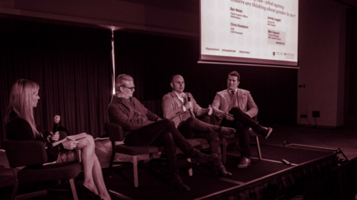 Manbassador panel moderated by Mim Haysom (General Manager, M&C Saatchi Sydney).  Ben Welsh (Chief Creative Officer, DDB Sydney), Chris Howatson (Chief Executive Officer, CHE Proximity Australia), Jaimes Leggett (Group CEO, M&C Saatchi). Gender equality in the creative industry